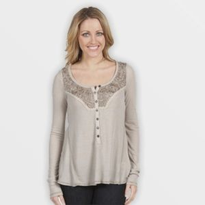 Free People Nude Diego Henley Long Sleeve T-Shirt